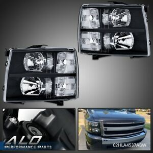 Clear-Lens-Black-Housing-Headlights-For-2007-2013-Chevy-Silverado-1500-2500-3500