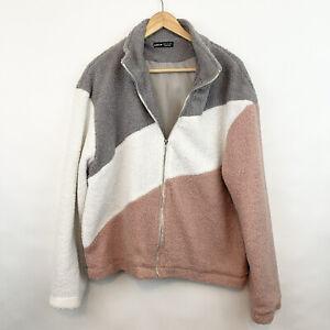 SHEIN XL Colorblock Sherpa Fleece Full Zip Jacket Gray White Pink NEW NWOT