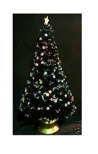 84 Inch Black Fibre Optic Christmas Tree with Stars FO84BKS