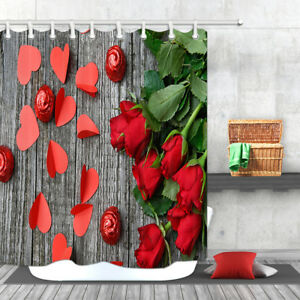 Details about Waterproof Fabric Bath Curtain Love Hearts Rose Decor for  Bathroom 71x71inches