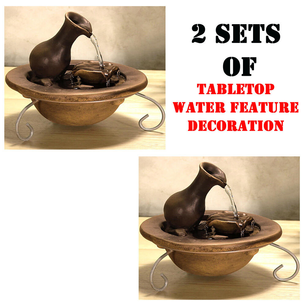2) Sets SereneLife SLTWF30 Water Fountain Relaxation Tabletop Feature Decoration