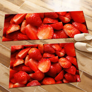 Image Is Loading Kitchen Area Rugs Cut Strawberry Fruits Bedroom Carpets