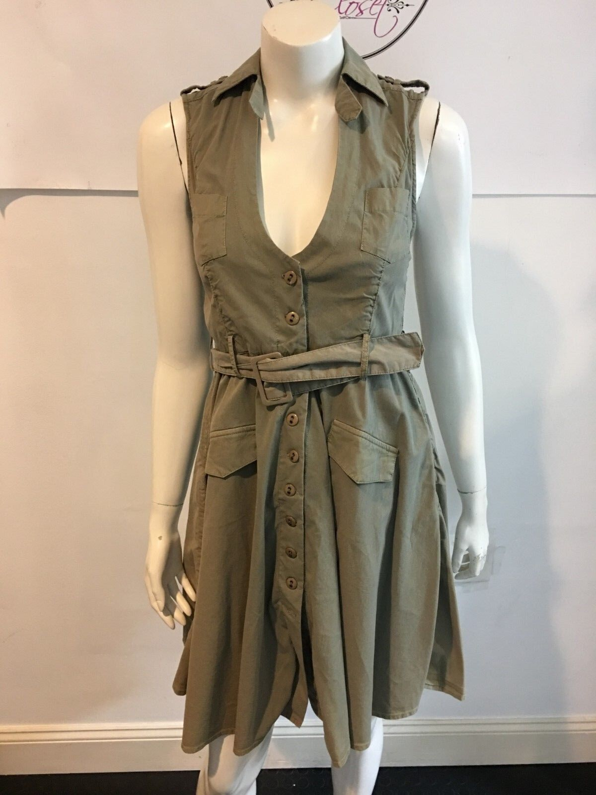 LA ROK 111018 NWT  258 ARMY SLEEVELESS JENERAL DRESS  SZ XS