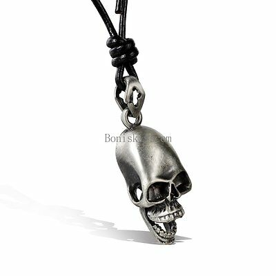 Silver Tone Skull Skeleton Head Pendant Necklace w Adjustable Leather Chain