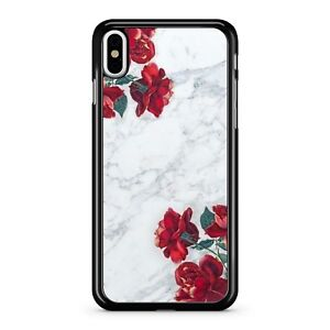 Lush-White-Marble-Crimson-Red-Flowery-Blossoming-Roses-2D-Phone-Case-Cover