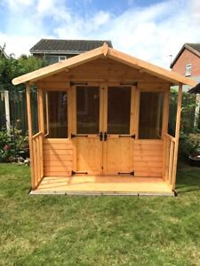 image is loading 8x6 wooden summerhouse plus 2ft front veranda fully - Garden Sheds With Veranda