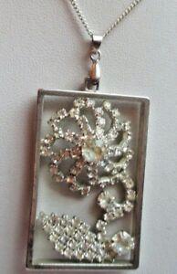 Raisonnable Collier Chaîne Pendentif Art Déco Couleur Argent Cristaux Diamant Bijou 3296