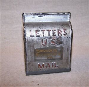 Fine Antique Glass Candy Container - Mail Box - Souvenir Brookfield, Mo. - Paint