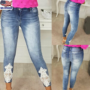 Women-Denim-Lace-Skinny-Stretch-Pants-High-Waist-Jeans-Slim-Pencil-Pant-Trousers
