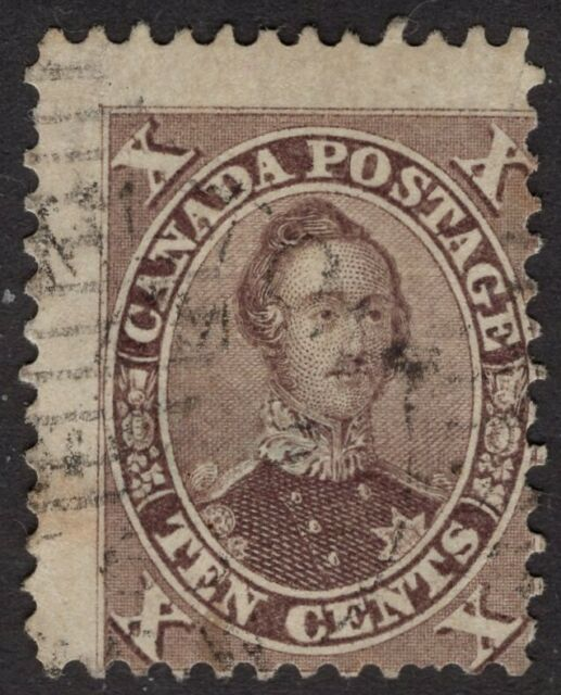 CANADA used #17 10c  11.75P    'FIRST CENTS ISSUES'  1859-64    FINE