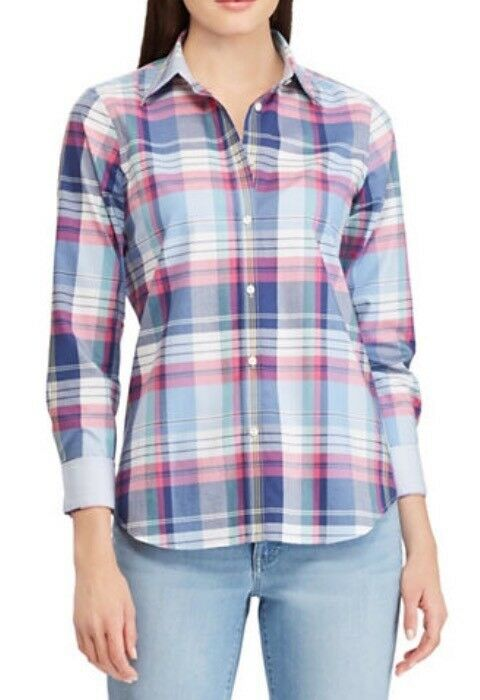 Chaps Women's Plaid Non Iron Shirt Size M