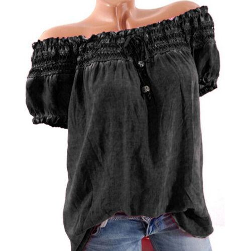 Womens Off Shoulder Boho Floral Tops Bardot Loose Beach T Shirt Blouse Plus Size