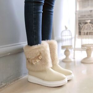 Details about Women\u0027s Vogue Winter Cute Thick Boots Metal Fashion Decor Fur  Furry Snow Boots