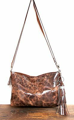 MURKA RAW EDGE DISTRESSED GLAZED BROWN LEATHER TASSEL CONVERTIBLE SHOULDER BAG