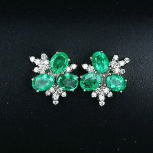 9a8eb1590b489 Details about 2.36TCW Natural Emerald VS Diamond Screw Stud Earrings Solid  14K Whtie Gold