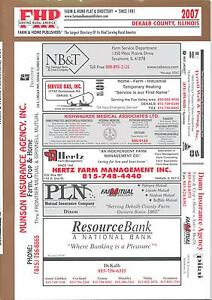 2007 DeKalb County Illinois FHP Farm & Home Plat Directory Rural Map on