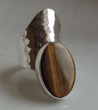 TAXCO TRADITIONS MEXICO TIGER EYE GEMSTONE STERLING SILVER RING UK- L; NEW QVC