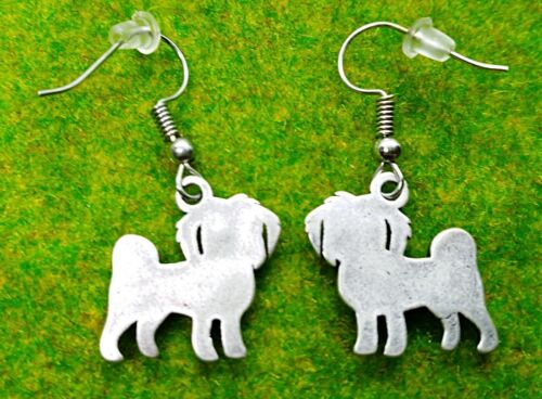 Vintage Silver plated Maltese Terrier dog Drop One Pair