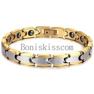 Gold-Silver-Tone-Anti-fatigue-Health-Magnetic-Tungsten-Carbide-Bracelet-Unisex