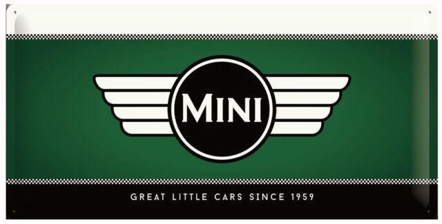 Long Retro Tin Metal Embossed Sign 'MINI' Cooper Racing Green Licensed Product