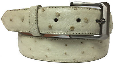 Mens Black All Real Ostrich Skin Leather Cowboy Belt Round Buckle