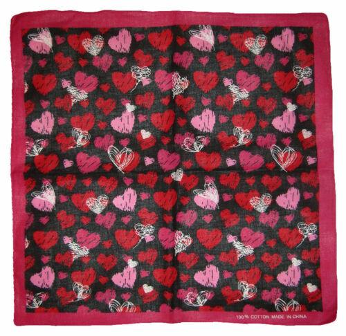 "22/""x22/"" Multiple Pink Red White Hearts Black 100/% Cotton Bandana"