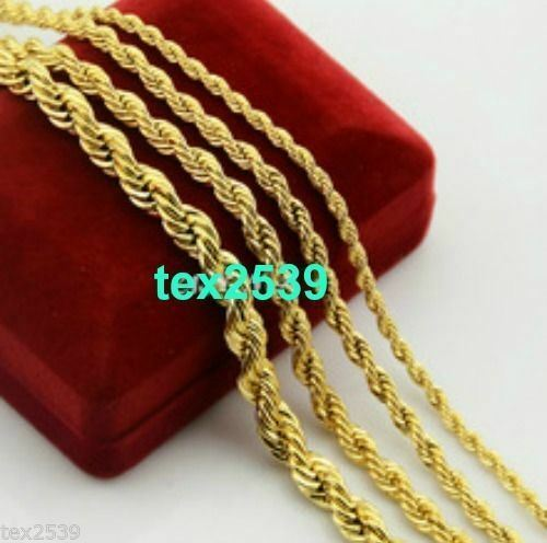 """mm LIFETIME WARRANTY 18K Chain Necklace 18/"""" to  24/"""",/& 2 3 Gold plated Rope 6"""