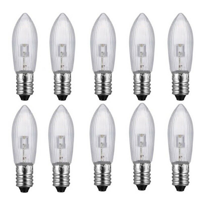 50Stk LED 0,2W E10 10-55V Topkerzen Riffelkerzen Spitzkerzen Ersatz Lichterkette 6