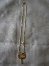 Gold Tone Necklace with Tree Pendant and Bird  41516
