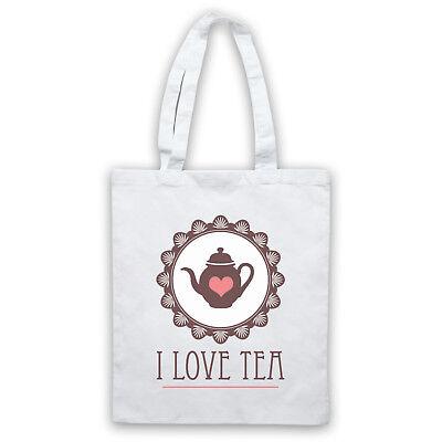 I LOVE TEA SLOGAN BRITISH ICONIC DRINK LOVER COOL FUNNY SHOULDER TOTE SHOP BAG