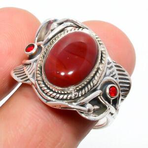 Red Jasper & Garnet Gemstone 925 Sterling Silver Handmade Boho Ring s.8 S2759