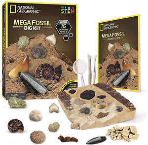 NATIONAL GEOGRAPHIC Mega Fossil Dig Kit – Excavate 15 Real Fossils; Dinosaur Bon
