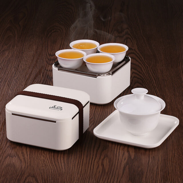 8pc/Set Outdoor Travel Tea Set Ceramic Portable Kungfu Tea Set Chinese Porcelain