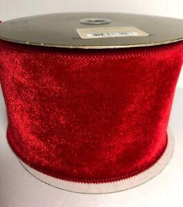 "Renaissance 2000 2.5/"" X 10 yard roll red velvet /& gold mesh wired edge NWT"