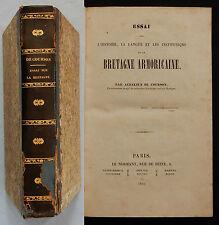 W/ ESSAI SUR L'HISTOIRE LA LANGUE ET INSTITUTIONS DE BRETAGNE ARMORICAINE 1840