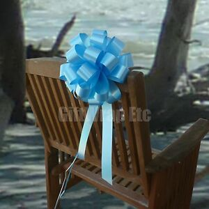 6 Sky Blue Pull Bows Wedding Pew Chair Church Graduation