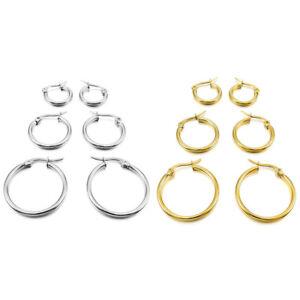 7d810774b 15mm 20mm 25mm 3 Pairs Hoop Earrings Set Simple Stainless Steel ...
