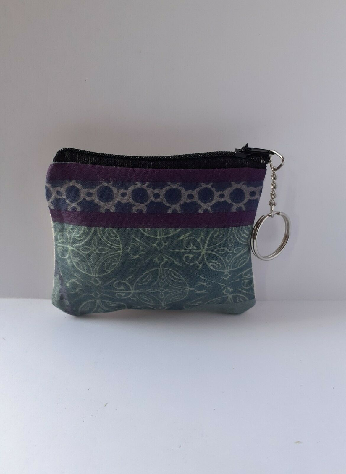 Multi - coloured blue patterned small zip coin purse with keyring