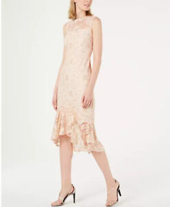 Calvin-Klein-Lace-Overlay-Midi-Light-Pink-Floral-Women-039-s-Dress-NEW