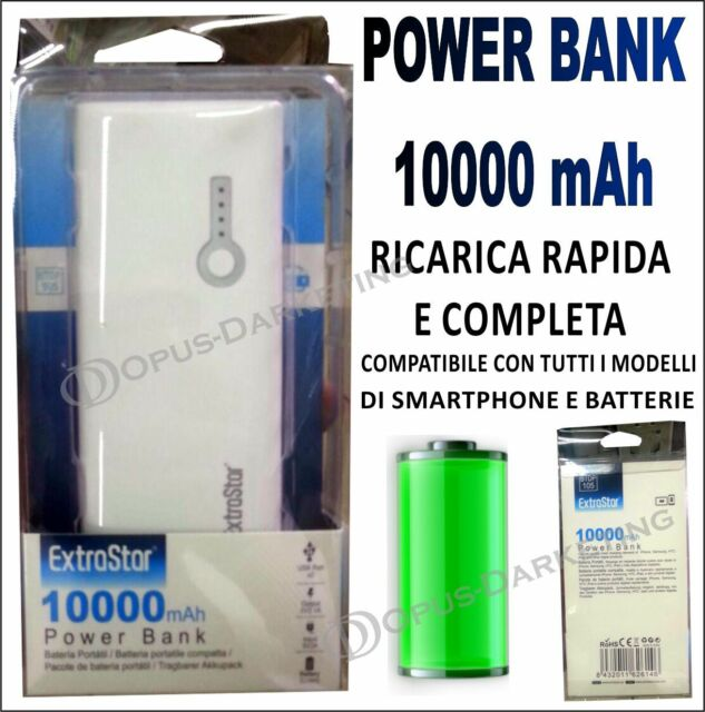 POWER BANK 10000 mHa CARICA BATTERIE PORTATILE PER LG NEXUS 5 D820
