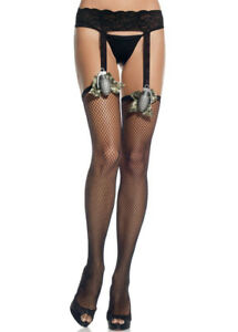 Women-LACE-GARTER-BELT-FISHNET-THIGH-HIGHS-CAMO-BOW-amp-TOY-GRENADE-Nylons-Leg-Ave