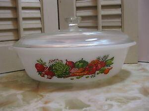 Glasbake-Vegetable-Medley-Design-Jeanette-J235-1-Qt-Oval-Ovenware-Baking-Dish