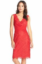 NEW TADASHI SHOJI PEPPERMINT V NECK MIXED MEDIA LACE COCKTAIL DRESS.SZ:8""