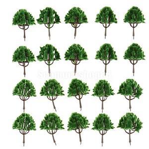 20pcs-dunkelgruene-Regenschirm-Form-Baum-Modell-Zug-Garten-Landschaft-HO