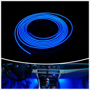 2m blue cold light lamp tape el wire car atmosphere lights interior unique decor ebay. Black Bedroom Furniture Sets. Home Design Ideas