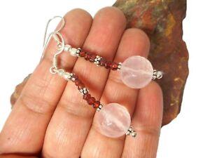 ROSE-QUARTZ-Garnet-Sterling-Silver-925-Gemstone-EARRINGS
