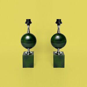 2-Lampe-Philippe-Barbier-acier-laque-vert-egg-shaped-steel-annees-60-1960s