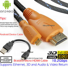 3FT Braided HDMI to Micro HDMI Cable + 6 Inches USB 2.0 Type A - Micro USB Cable
