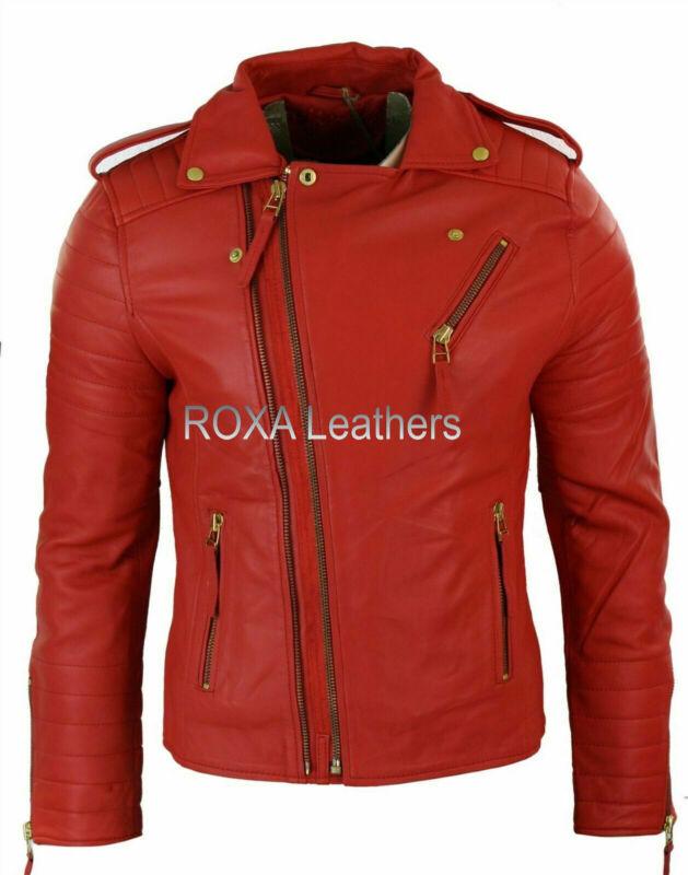 Liberal Roxa New Men Real Leather Jacket Biker Genuine Lambskin Night Club Wear Red Coat Meticulous Dyeing Processes