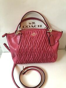 e5037f95a9b3 NWT Coach F37081 SMALL KELSEY SATCHEL IN GATHERED TWIST LEATHER Pink ...